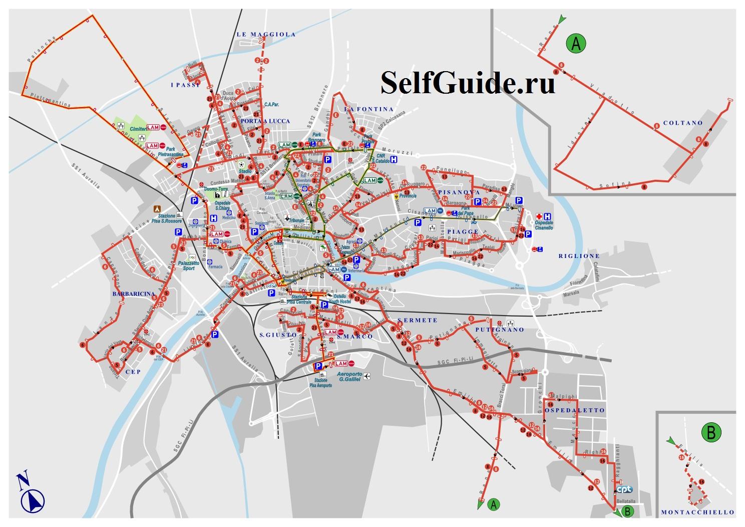 Парковки Пизы на карте города