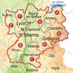 Карта Анси и региона: регион Rhone-Alpes