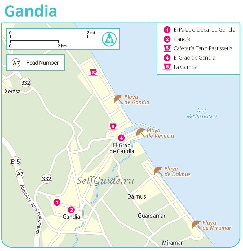 Гандия (Gandia), Валенсия, Коста-Бланка - путеводитель по Гандии Карта Гандии