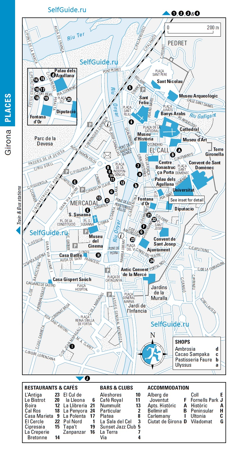 Жирона или Жерона (Girona) - туристический маршрут по городу, что посмотреть в Жироне, достопримечательности Жироны на карте