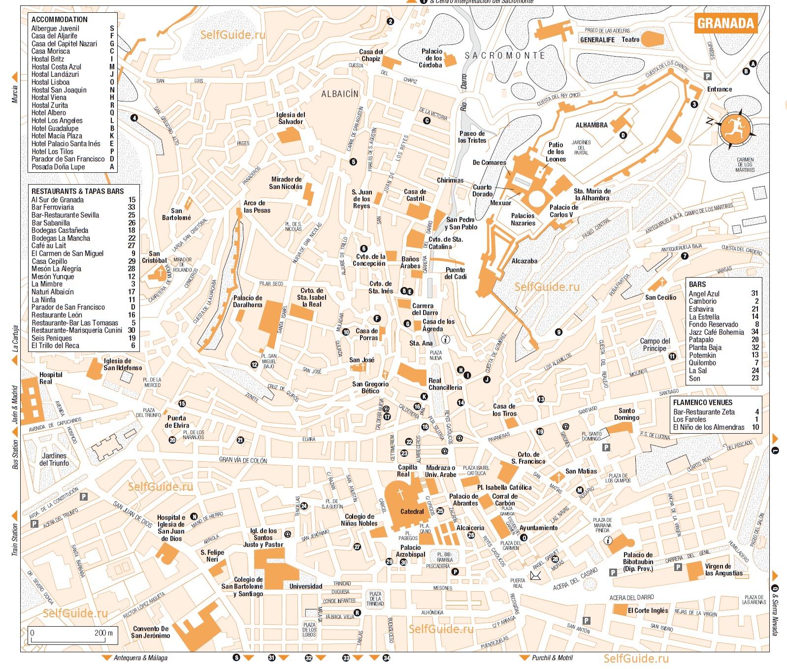 Туристическая карта Гранады c отмеченными достопримечательностями
