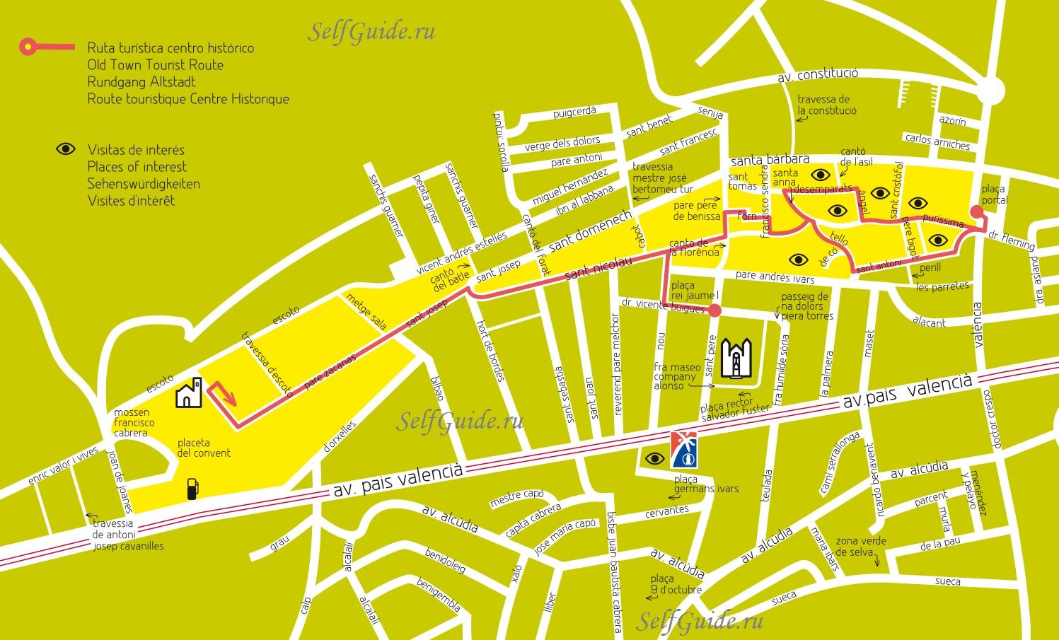 Карта и туристический маршрут по Бениссе