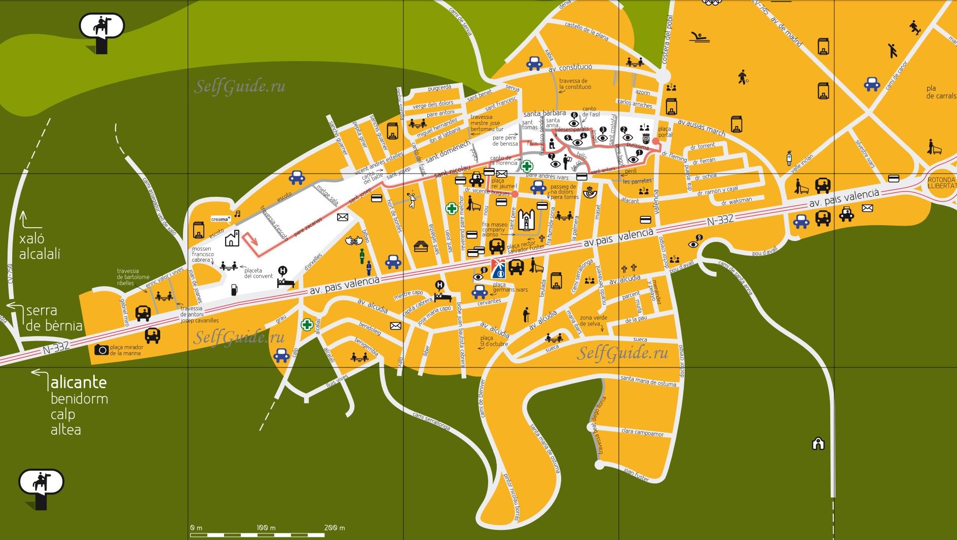 Бенисса - туристическая карта