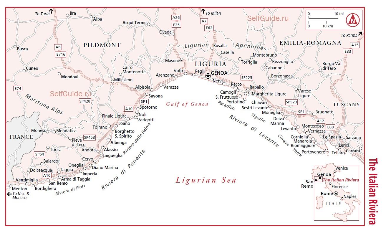 Окрестности Генуи - лигурийское побережье - Генуя (Genua), Лигурия, Италия - достопримечательности, туристический маршрут с картой, путеводитель по Генуе ти Италии. Расписание транспорта в Генуе.