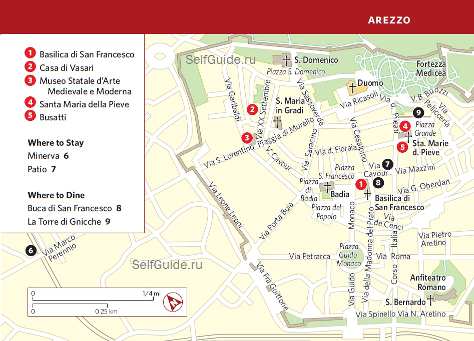 Italy-Frommers-Umbria-Arezzo карта Ареццо, Италия, Тоскана
